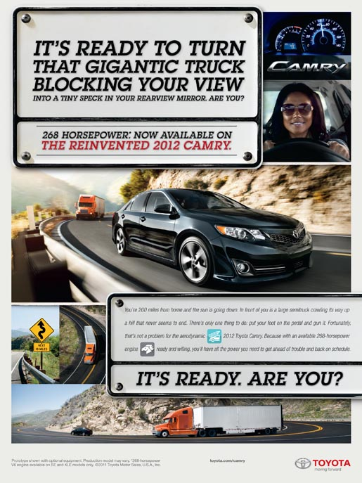 Toyota Camry Performance print ad - Female