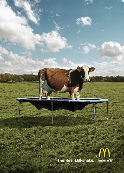 McDonalds Real Milkshake Cow on Trampoline