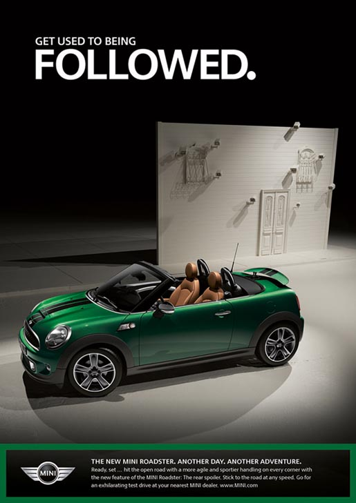 Mini Roadster print ad - Get Used to Being Followed