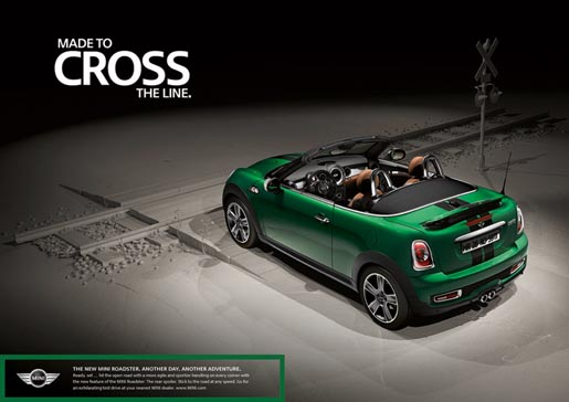 Mini Roadster print ad - Cross the Line