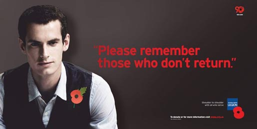 Royal British Legion Poppy Day print ad - Andy Murray