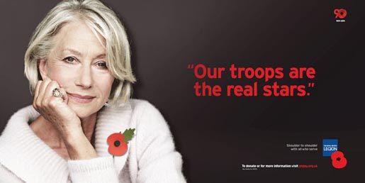 Royal British Legion Poppy Day print ad - Helen Mirren
