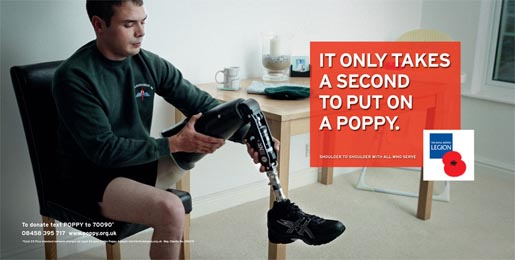 Royal British Legion Poppy Day print ad - Leg