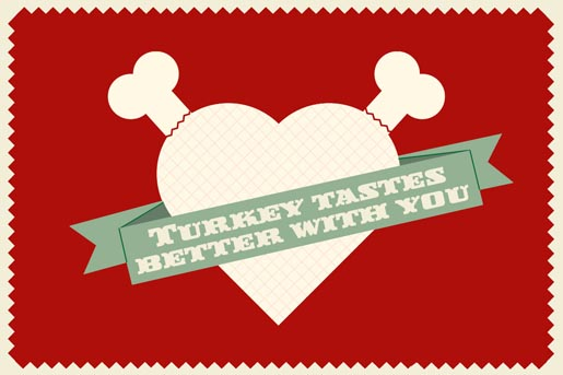 Christmas Card - Turkey tastes better with you