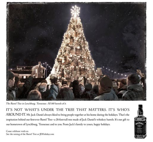 Jack Daniels Holiday Barrel Tree print ad