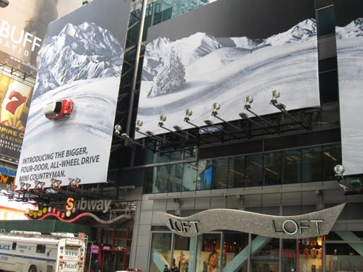 Mini Times Square Let It Snow billboards