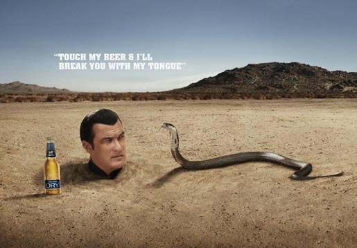 Carlton Dry Steven Seagal and Snake