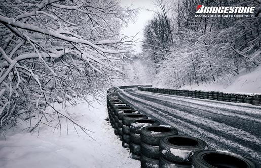 Bridgestone Tire Wall Snowy Road
