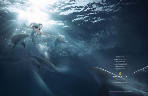 Shangri-La Dolphins In Our Nature print advertisement