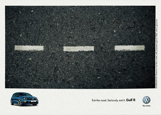 Volkswagen Eat The Road edible print ad