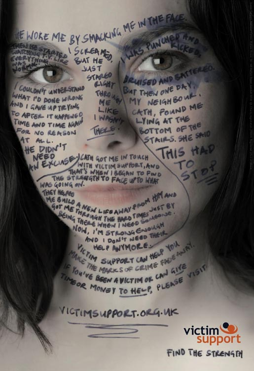 Victim Support Face with story of domestic violence