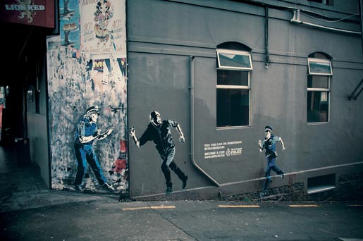 NZ Police Julia and Madeline street art