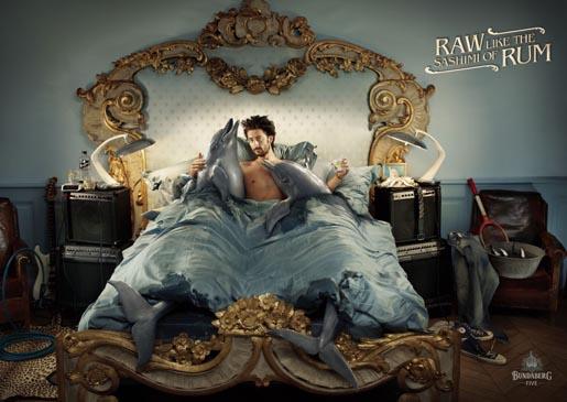 Bundy 5 Raw - Dolphins in Bed print advertisement