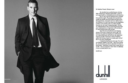Dunhill Olympics Matthew Pinsent print ad