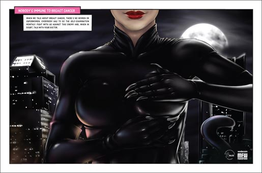 ALCC Catwoman breast cancer print ad