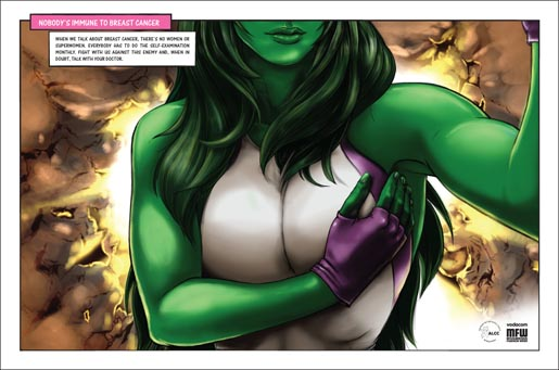 ALCC She Hulk breast cancer print ad