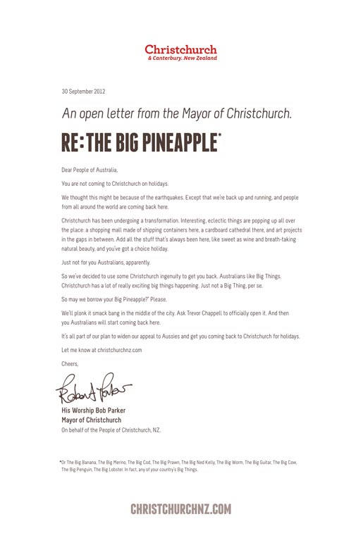 Christchurch Big Pineapple Letter