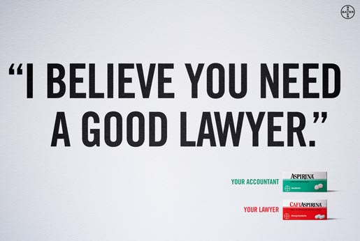 CafiAspirina Lawyer ad
