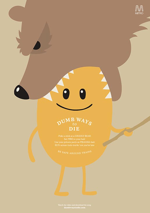 Dumb Ways to Die - Grizzly Bear print ad