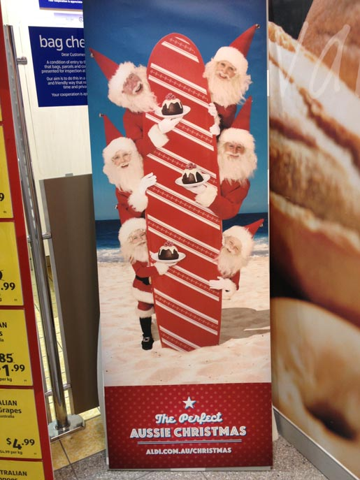 ALDI Surfing Santas Point of Sale poster