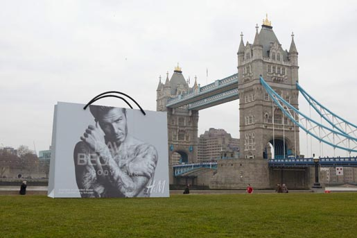 David Beckham Bodywear Bag at Tower Bridge London