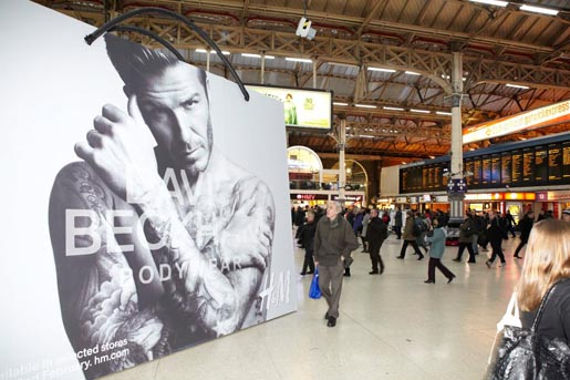 David Beckham Bodywear Bag at Victoria St Station