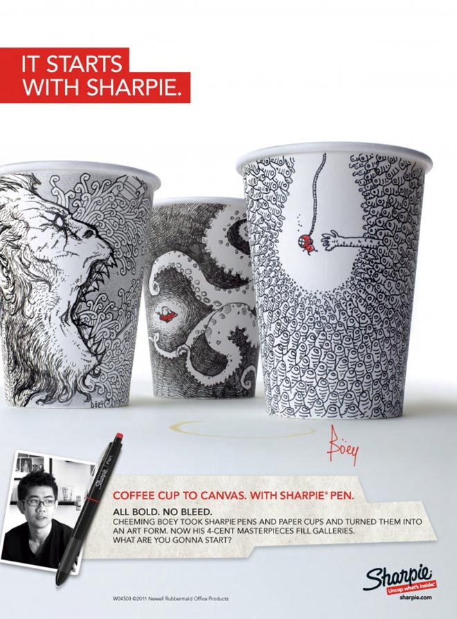It Starts with Sharpie Coffee Cup to Canvas print ad