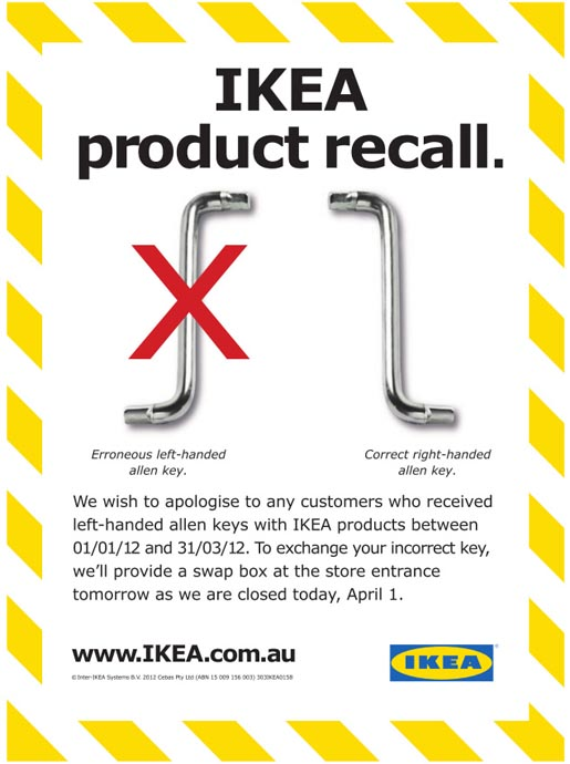 IKEA Left Handed Allen Key Product Recall