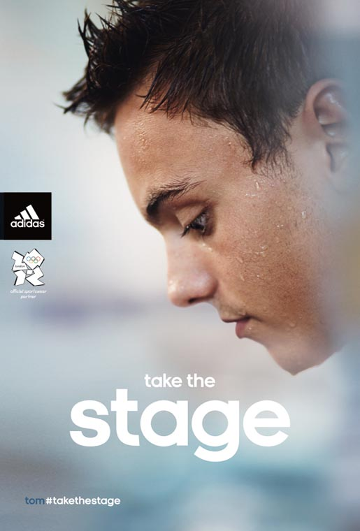 Adidas Take The Stage print ad with Tom Daley