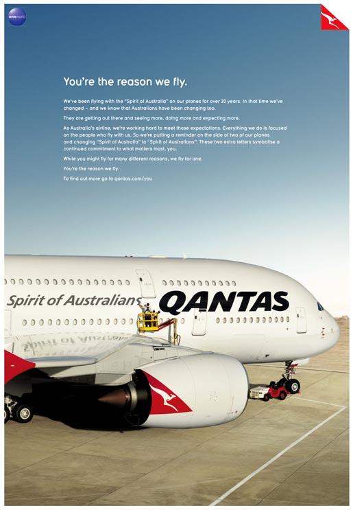 Qantas You're The Reason We Fly ad