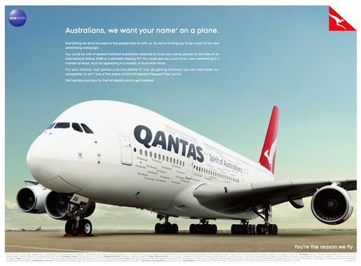 Qantas We Want Your Name on a Plane ad