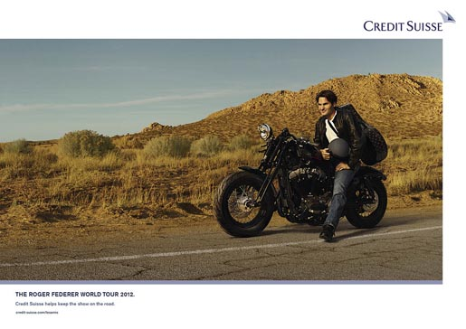 Roger Federer on Motorcycle
