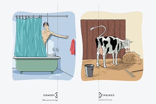 Comedy Central Logo shower and cow