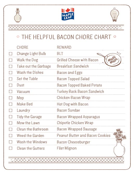 Maple Bacon Chore Chart