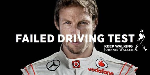 Johnnie Walker print ad Jenson Button Failed Driving Test