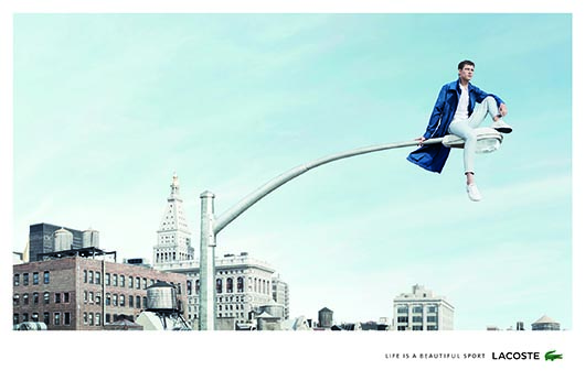 Lacoste Life is a Beautiful Sport - billboard - Man on Lamp