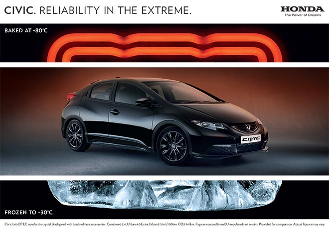 Honda Hot and Cold Extremes print ad
