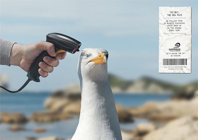 Surfrider You Buy The Sea Pays - barcode scanner with seabird
