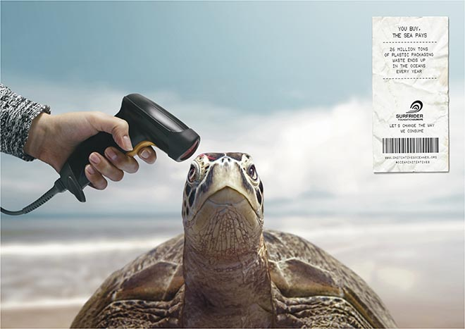 Surfrider You Buy The Sea Pays - barcode scanner with turtle