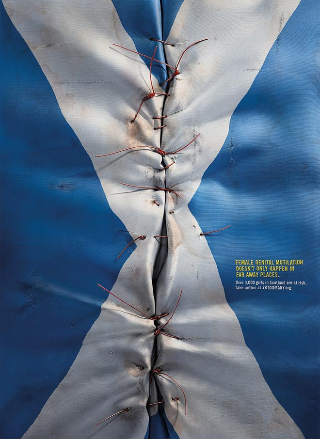 28 Too Many Scotland Flag print ad