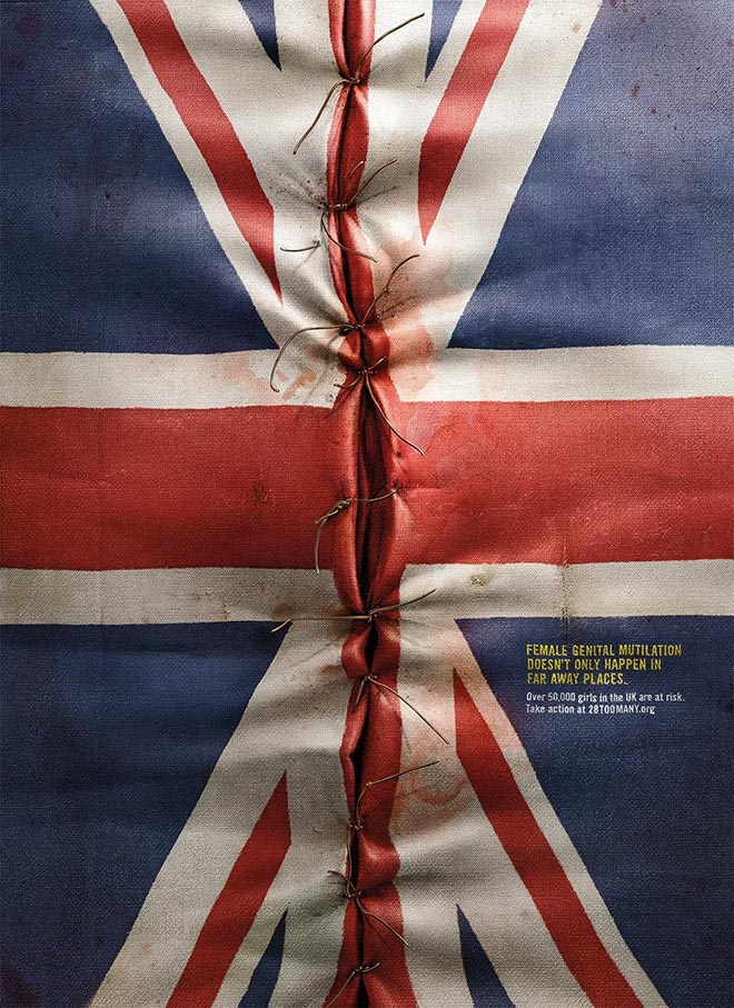 28 Too Many UK Flag print ad