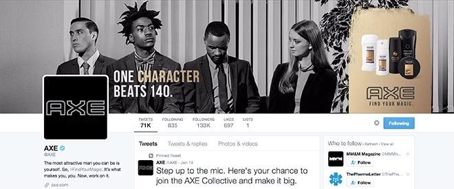 Axe Twitter page One Character beats 140