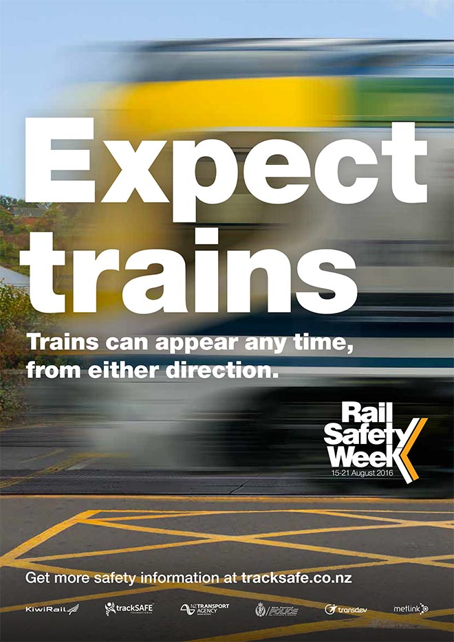 Rail Safe Expect Trains poster