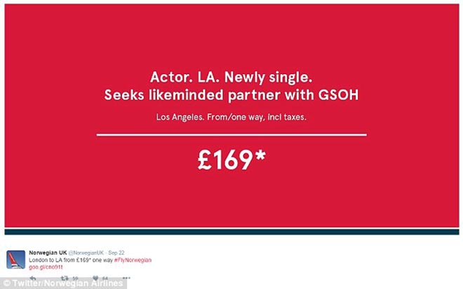 Brad is single - Actor LA Newly Single Norwegian Airlines print ad
