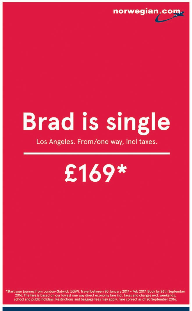 Brad is single - Norwegian Airlines press ad