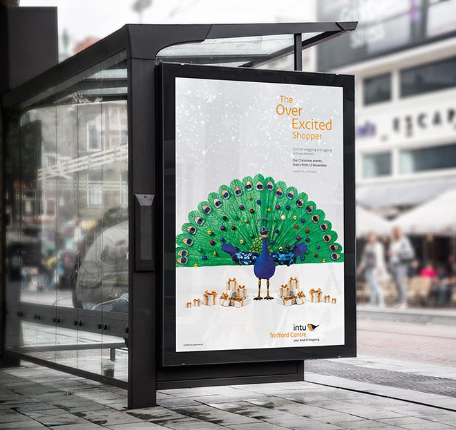 Intu Over Excited Shopper Peacock poster