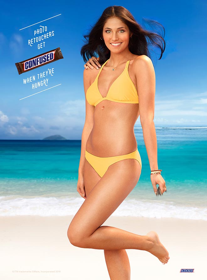 Snickers Swimsuit Retoucher ad
