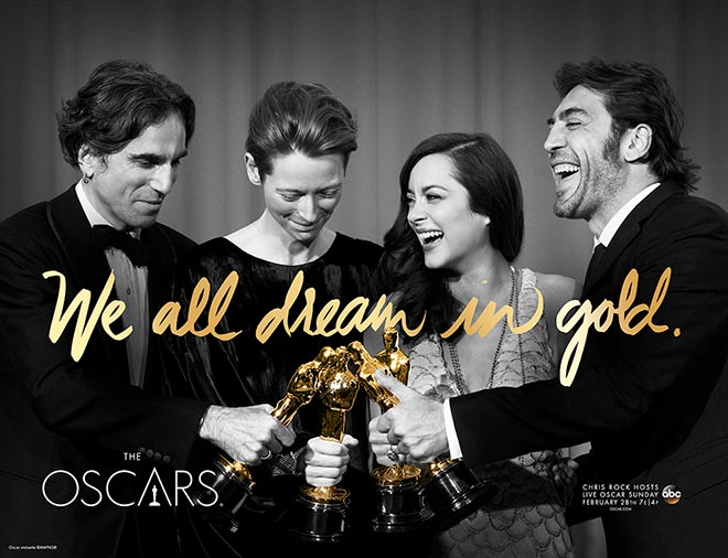 We All Dream in Gold poster with Daniel Day Lewis, Tilda Swinton, Marion Cotillard and Javier Bardem