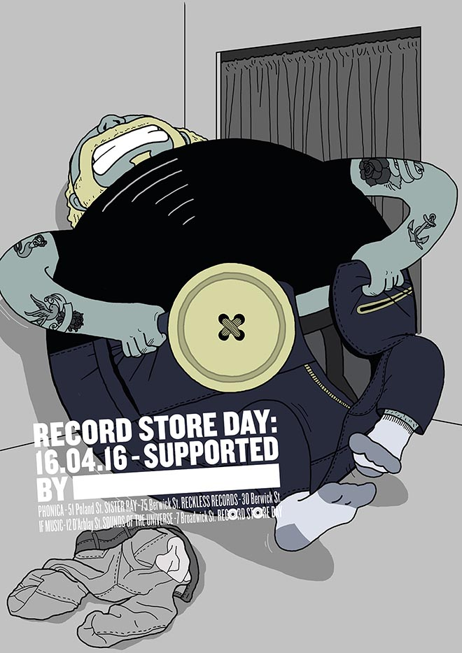 Record Store Day Poster from Soho London - Button