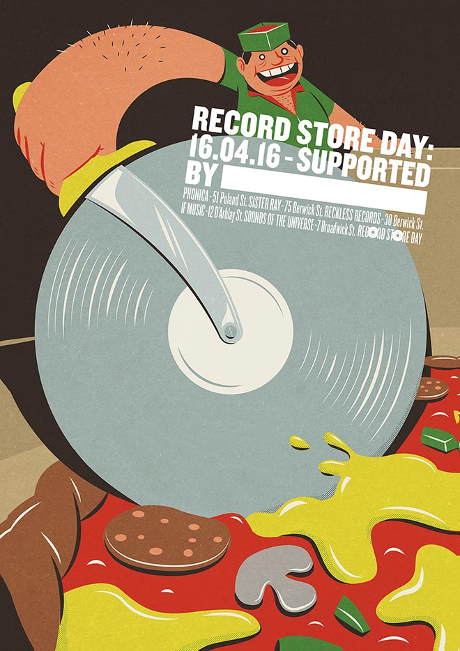 Record Store Day Poster from Soho London - Pizza